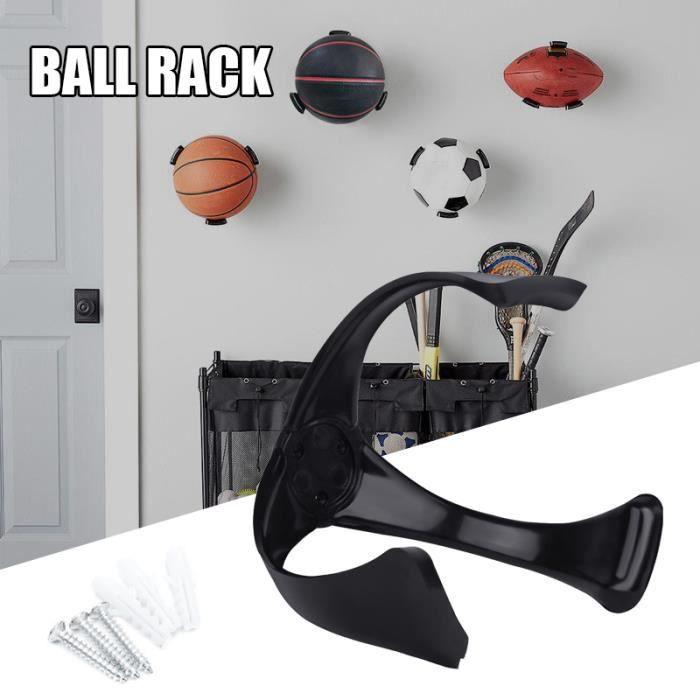 Support mural pour ballon de basketball, volley, football Économiseur d'espace pour panier de basket - NOIR