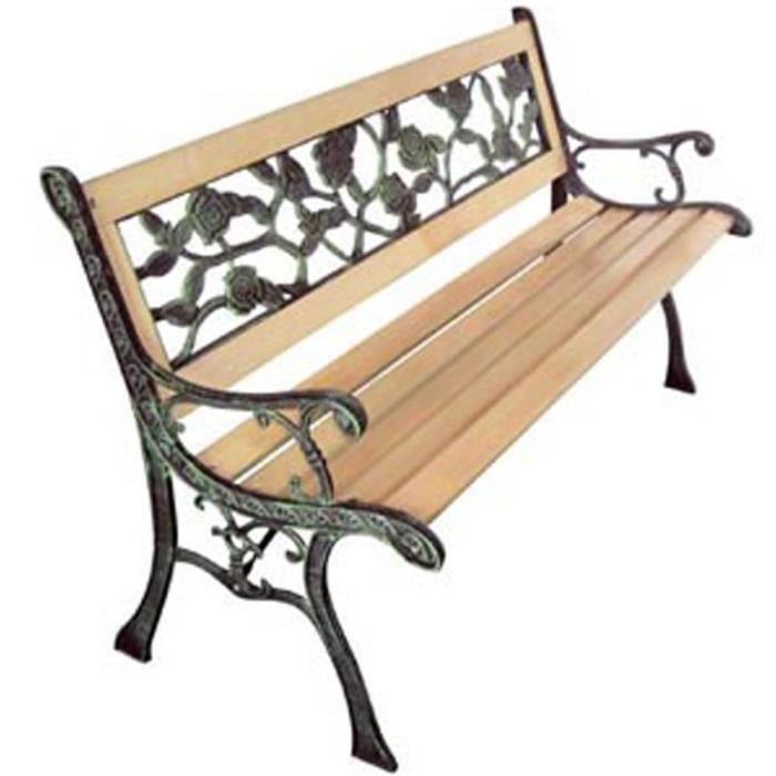 R48 Ce banc de jardin a 3 places en bois et fer forge est un vrai element  attrayant et donnera une sensation agreable a