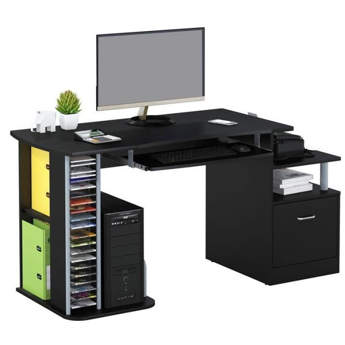 bureau informatique noir brillant myco00457 achat vente bureau bureau informatique. Black Bedroom Furniture Sets. Home Design Ideas