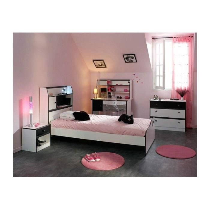 chambre fille 4 pi ces avec bureau disco noire et blanche. Black Bedroom Furniture Sets. Home Design Ideas