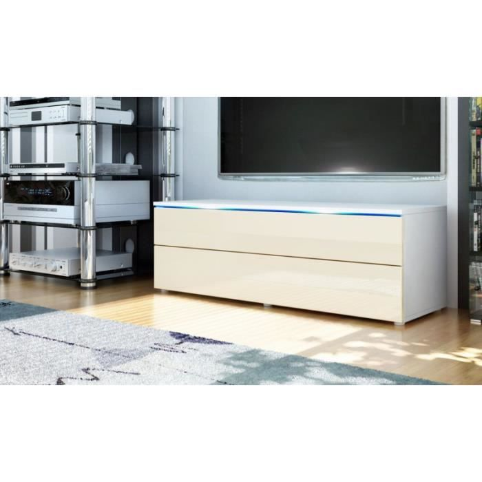 meuble tv bas blanc cr me 109 cm achat vente meuble tv meuble tv bas blanc cr me. Black Bedroom Furniture Sets. Home Design Ideas