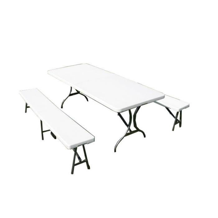 Table pliante + 2 bancs pliable 184 cm - Achat / Vente banc d ...