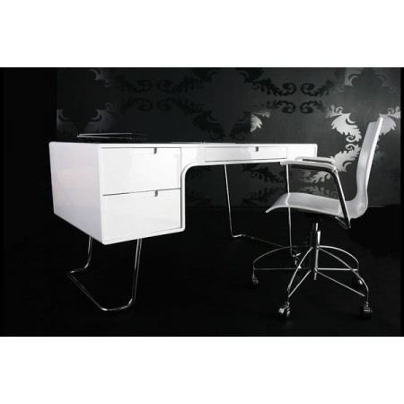 bureau design bonassoli laqu blanc achat vente bureau bureau design bonassoli soldes d. Black Bedroom Furniture Sets. Home Design Ideas
