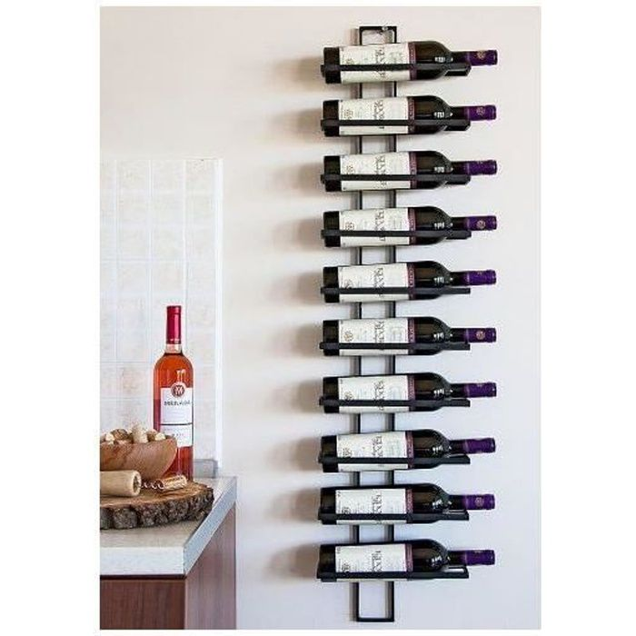 Dandibo tag re murale vin en m tal pour 10 bouteilles for Decoration murale verticale
