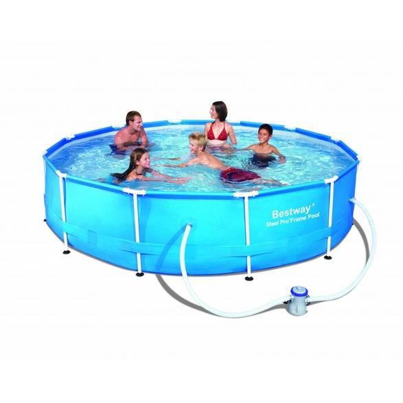 Piscine tubulaire ronde steel frame pool 366 x 76 cm for Piscine tubulaire occasion