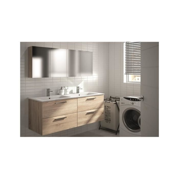 meuble salle de bain suspendu bebop 130 cm c ramique blanche 45 cm avec armoire de toilette. Black Bedroom Furniture Sets. Home Design Ideas
