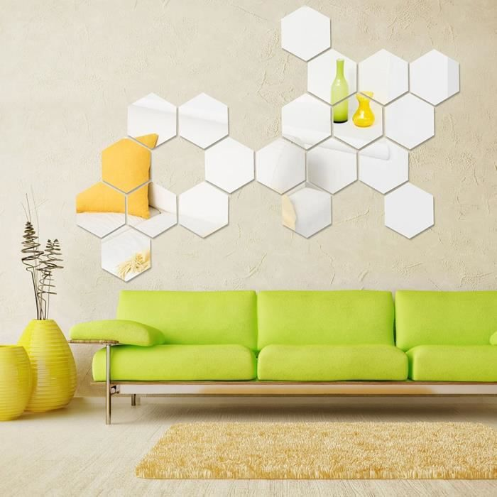 3d d coration murale art sticker miroir g om trique hexagonal bricolage 12pcs achat vente. Black Bedroom Furniture Sets. Home Design Ideas
