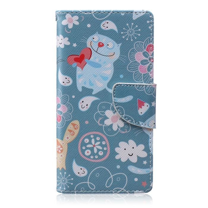 Blue Chat Cartoon Fleur Style Coque Etui Housse