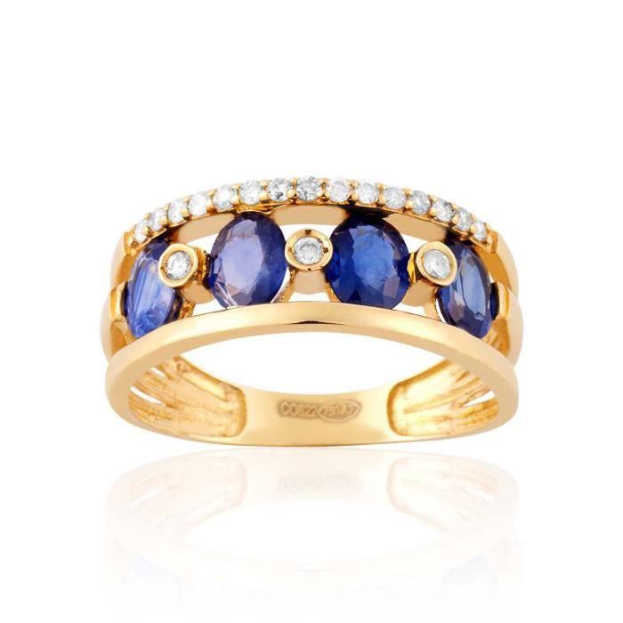 bague diamant et saphir bleu