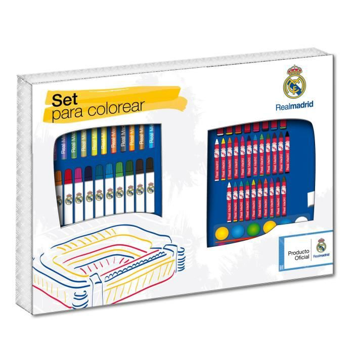 mallette de coloriage real madrid 86 pieces crayons de couleur feutres etc achat vente. Black Bedroom Furniture Sets. Home Design Ideas