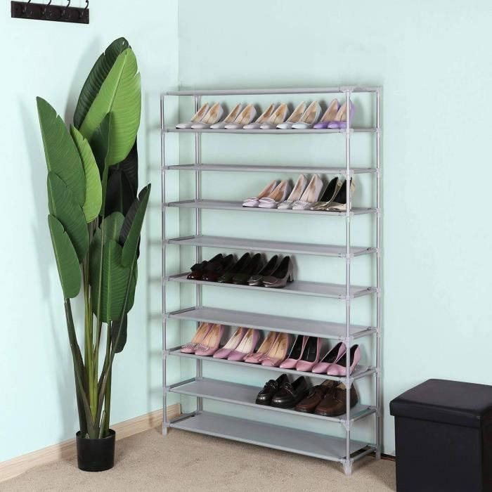5 niveaux étagère à chaussures Meuble à chaussures étagères Jusqu/'à 15 Paires Chaussure Organisateur Stand