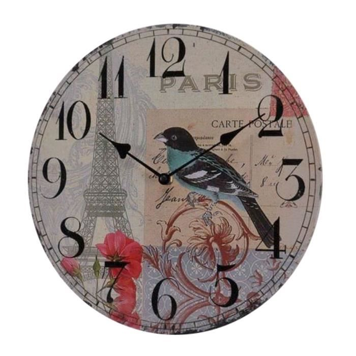 horloge decorative murale bird 34 unique achat vente horloge soldes d hiver d s le 6. Black Bedroom Furniture Sets. Home Design Ideas