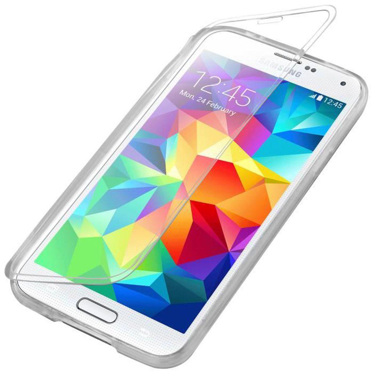 Coque Etui Silicone à Clapet Tactile pour Samsung Galaxy S5 - transparent
