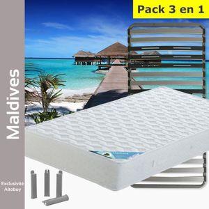 ENSEMBLE LITERIE Maldives - Pack Matelas + AltoZone 90x200 + Pieds