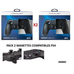 MANETTE JEUX VIDÉO PACK 2 MANETTES COMPATIBLES PS4 NOIRE FILAIRE 3M C