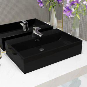 LAVABO - VASQUE Vasque avec trou de robinet en céramique Noir 76x4