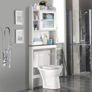 COLONNE - ARMOIRE WC COSTWAY Meuble Dessus Toilette WC Etagère de Salle