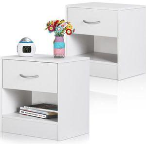 CHEVET 2x Table de nuit table de chevet blanc tiroir surf