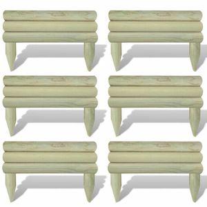 BORDURE Lot de 6 bordures de jardin en bois 60 cm buches h