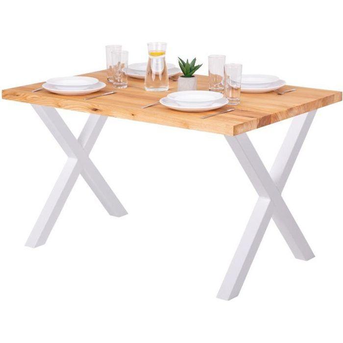 LAMO MANUFAKTUR Table à manger industrielle en bois massif - 120x80x76cm - frêne naturel - pieds métal blanc - modèle design