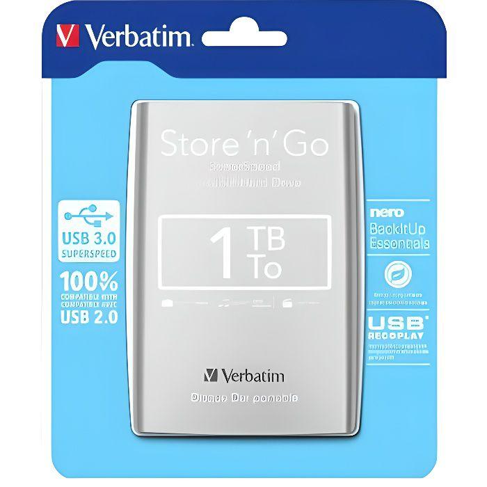 VERBATIM disque dur externe HDD - 1 To - USB 3.0 - 2.5-