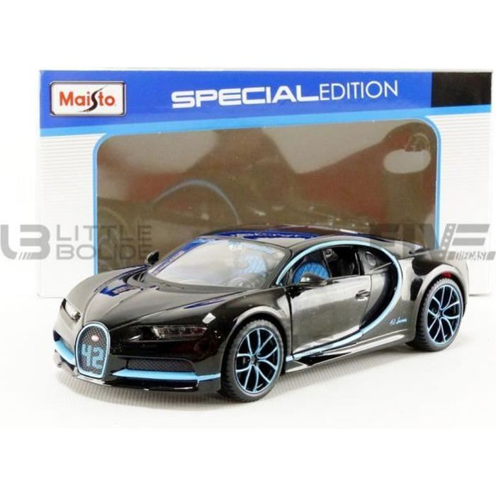 Voiture Miniature de Collection - MAISTO 1/24 - BUGATTI Chiron - World Record 2017 - Zero 400 Zero - Black / Blue - 31514BK