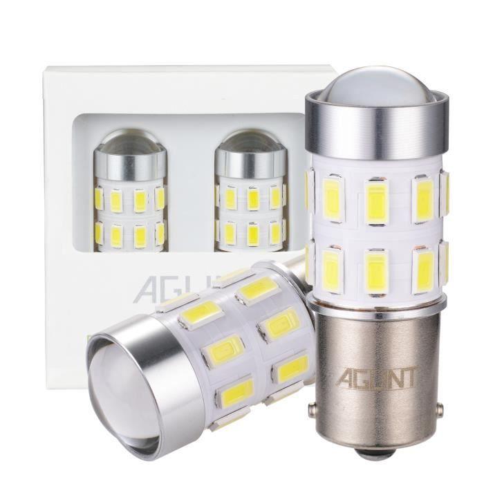 AGLINT 2X Ampoule P21W LED 24SMD 1156 BA15S Feux Arrière Voiture DRL Feu Recul Frein Lampe Blanc 6000K 12V 24V