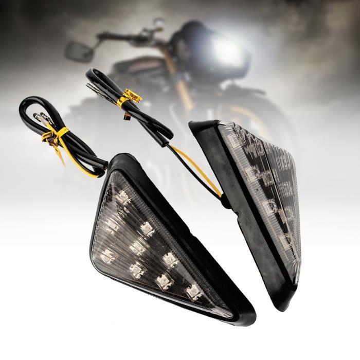 1 paire Moto Triangle Encastré Clignotant Fumée Ambre LED Lumière AP 12V