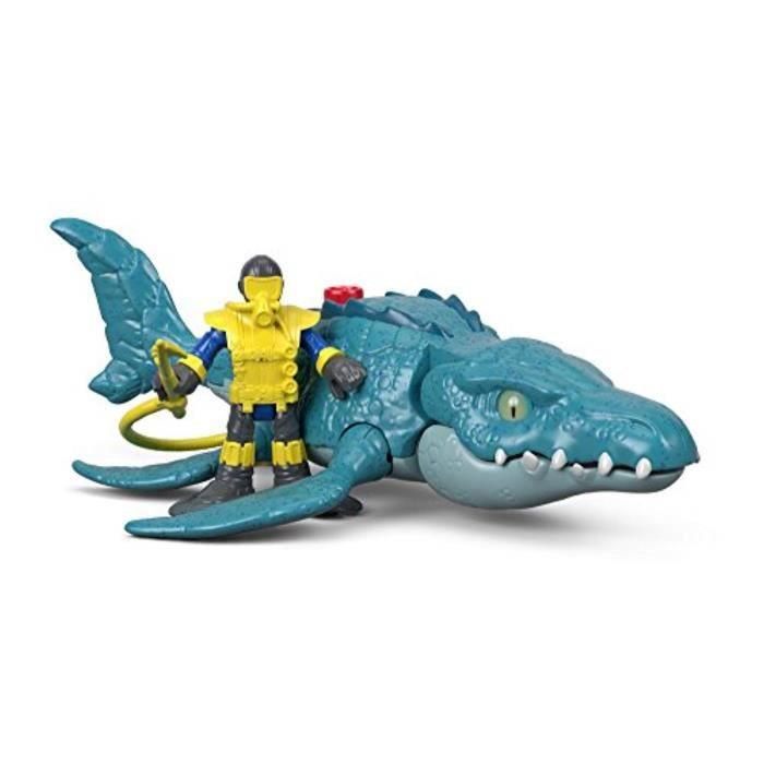 Figurine Miniature S2THB Imaginext Jurassic Monde, Mosasaurus & Diver