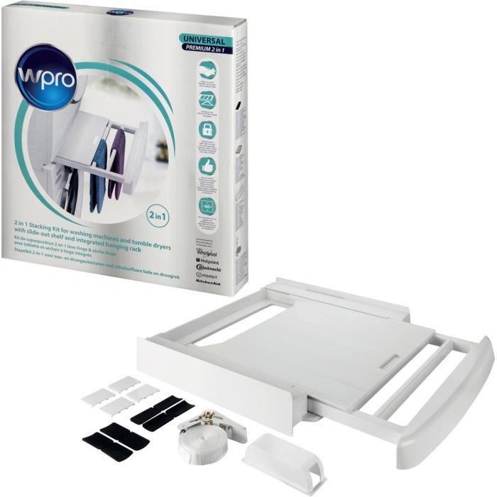 Wpro Sks101 Accessoires pour machines à laver et sèche-linge, kit d'empilage avec étagère, compatible avec entre la machine à lav