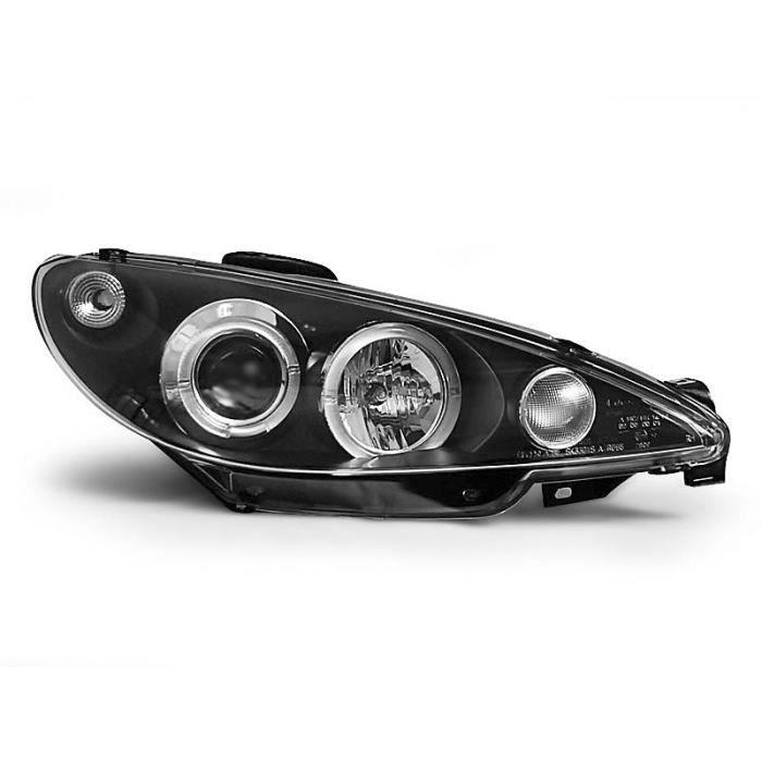 Paire de feux phares Peugeot 206 02-07 angel eyes noir LPPE03