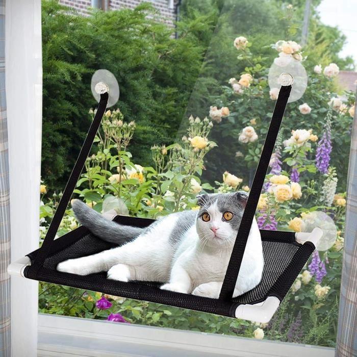Afufu Hamac de Fenêtre pour Chat, Ventouse Siège Étagères pour Chat,Perchoir Chat Fenêtre de Seat Ensoleillé,Capacité de Charge 1