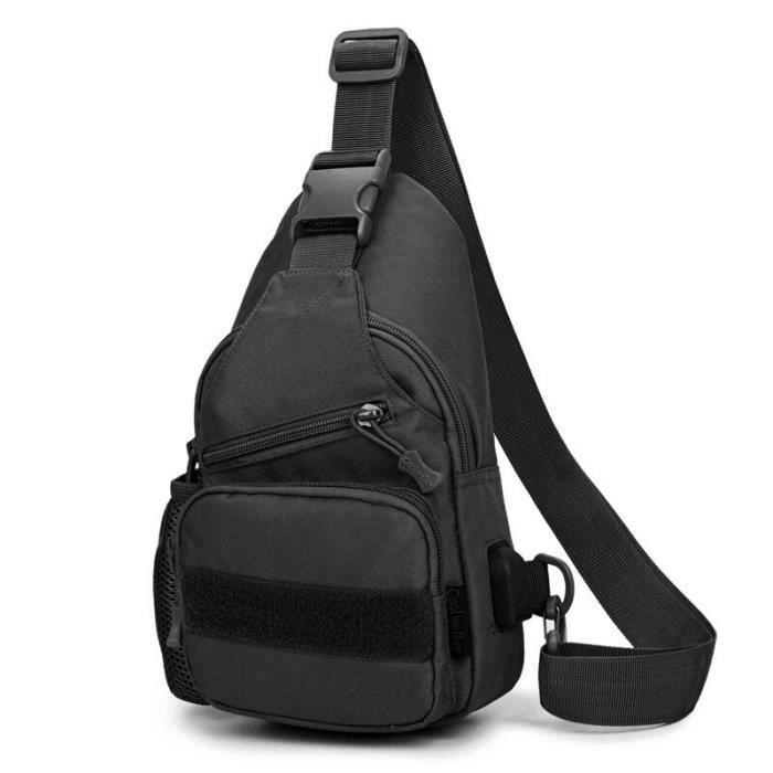 Sac à dos de poitrine tactique militaire avec chargeur USB pour hommes sacoche à bandoulière pour Sport d couleur noire -AOAE5957