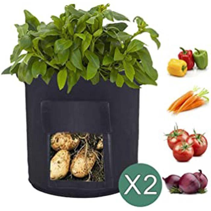 Lot De 2 Sacs De Culture Pour Pommes De Terre Avec Rabat Pour Cultiver Des Légumes, Des Carottes, Des Oignons, Des Tomates 33 Cm X 3
