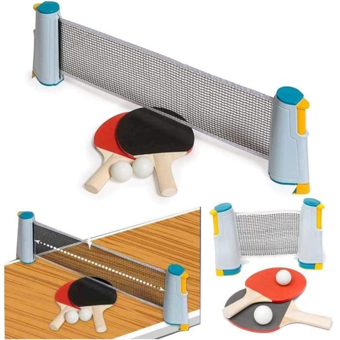 Trading Innovation Rétractable Table Tennis Portable Kit Avec / Ping Pong Balle, Raquette, Télescopique Filet Accessoires...