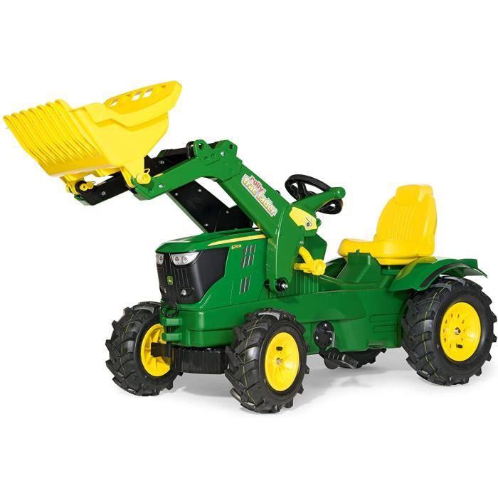 TRACTEUR - 61 110 2 - Tracteur -Agrave, P-eacute,dales - Rollyfarmtrac John Deere 6210 R + Pelle Avant - Pneus Souples48