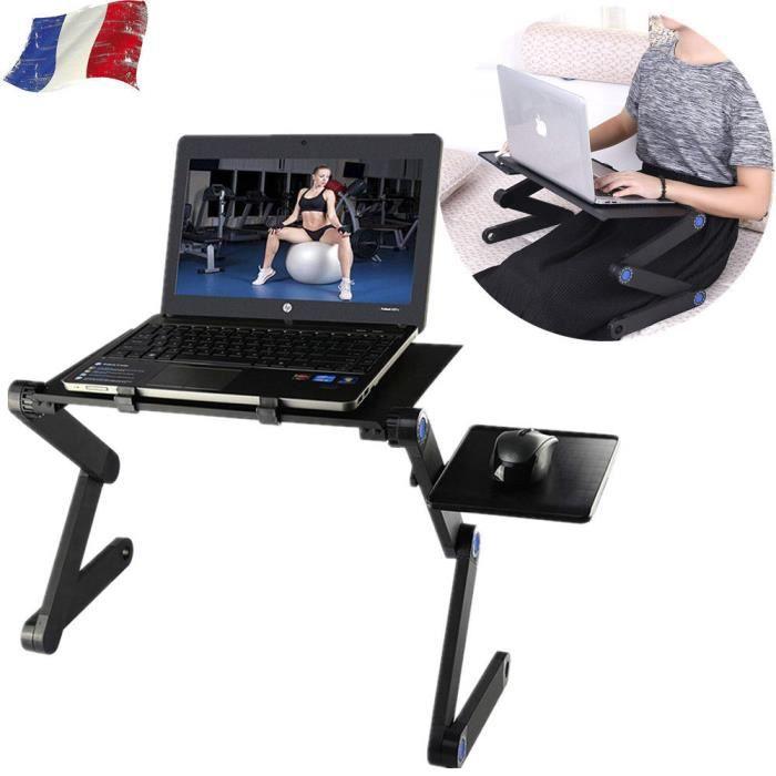 360 degrés Table D'ordinateur Portable Pliable Plateau de refroidissem Noir