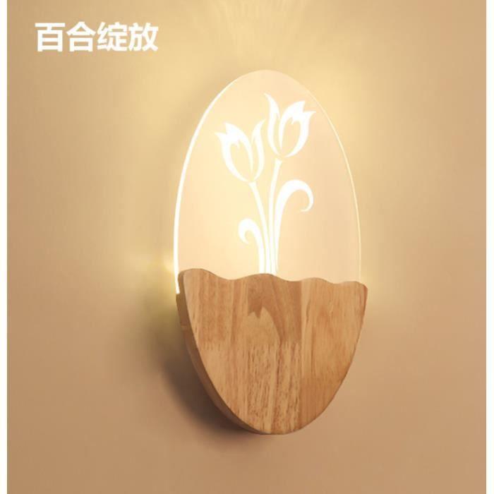Designer Creative Applique Murale LED D'Intérieur en Bois Sculpté Fleur de Lis Deco Chambre Lampe de Salon Chevet Couloir Restaurant