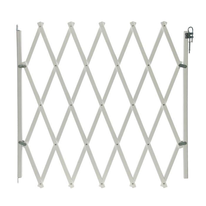 Barrière extensible pour animaux bois blanc 103 cm. - Barrière extensible pour animaux bois blanc 103 cm.