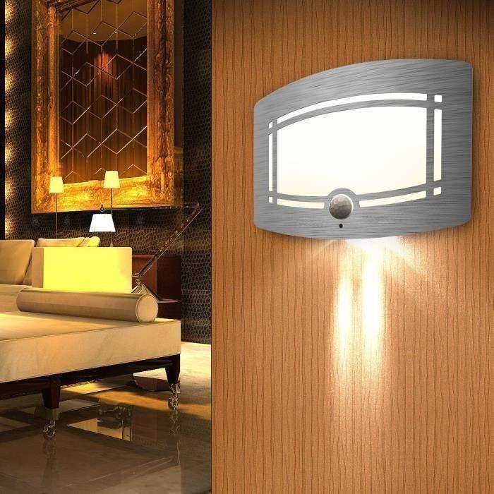 Lampe Murale LED Détecteur de Mouvement, SOWTECH(TM) Veuilleuse sans Fil Infrarouge en Aluminium pour Couloir, Escalier, Armo D03D76