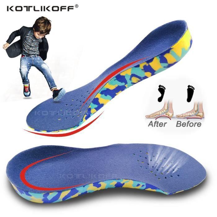 UE (32-34) semelles orthopédiques 3D à talon profond pour enfants, pieds plats, Support d'arc pour jambes O-x