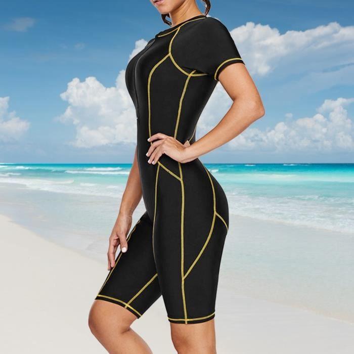 Cikonielf Combinaison de plongée femme Maillot de bain une pièce noir pour femme, plongée en apnée, manches courtes