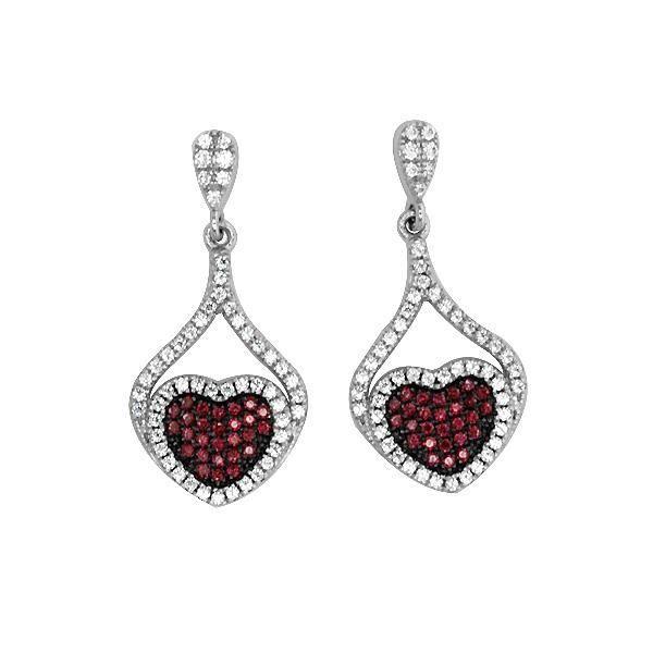 Boucles d'oreilles Coeur en Argent orné de Cristal Swarovski Cubic Zirconia Blancs et Roses
