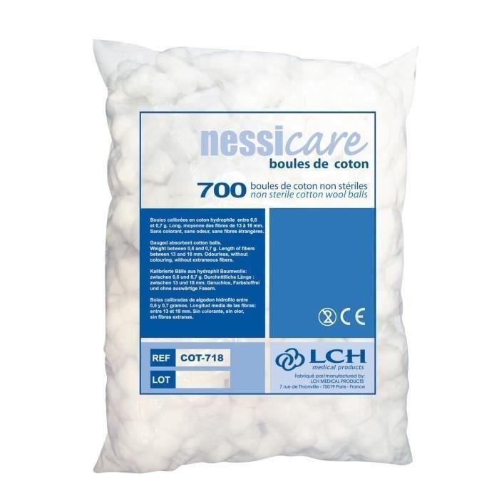Lots de 2800 boules de coton hydrophile 100% pure ouate LCH Nessicare - Non stériles - 4 lots de 700