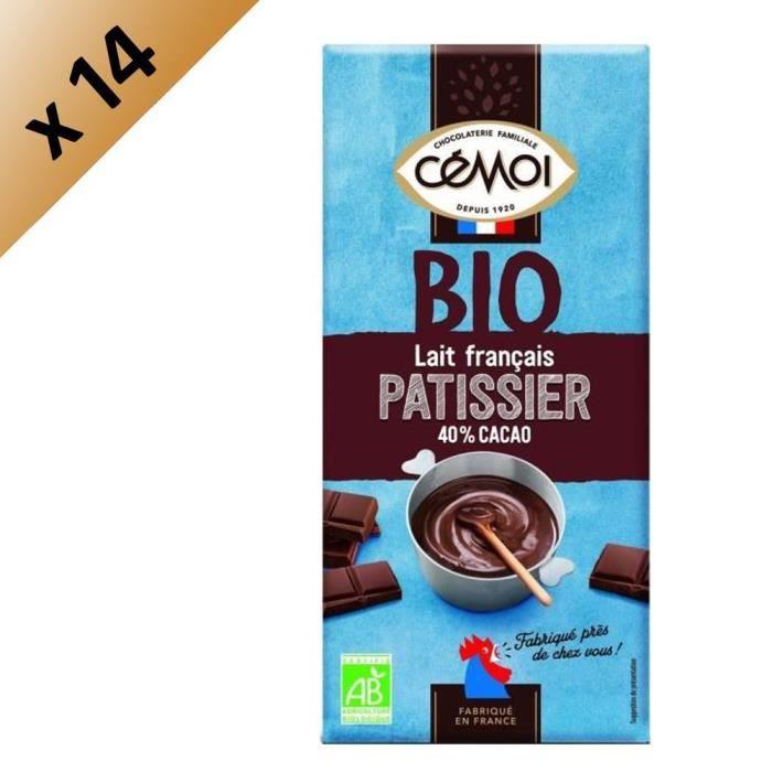 CEMOI Lot de 14 Tablettes - Dessert Chocolat au lait 40% de cacao - Bio - 175 g