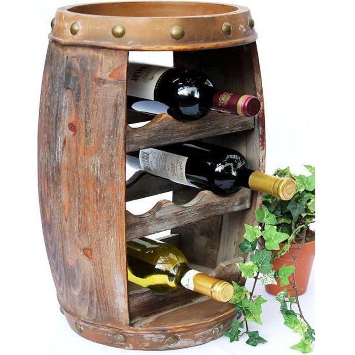 DanDiBo Etagère à vin Tonneau de vin 1555 Bar Porte-bouteilles 50 cm pour 8 bout. Etagère Tonneau Tonneau en bois