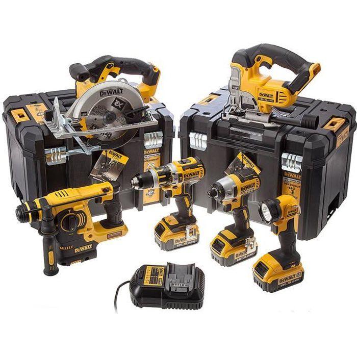 DEWALT Pack de 6 machines DCK699M3T - Livré avec 3 batteries 18 V chargeur multi-voltage et 2 coffrets Tstak