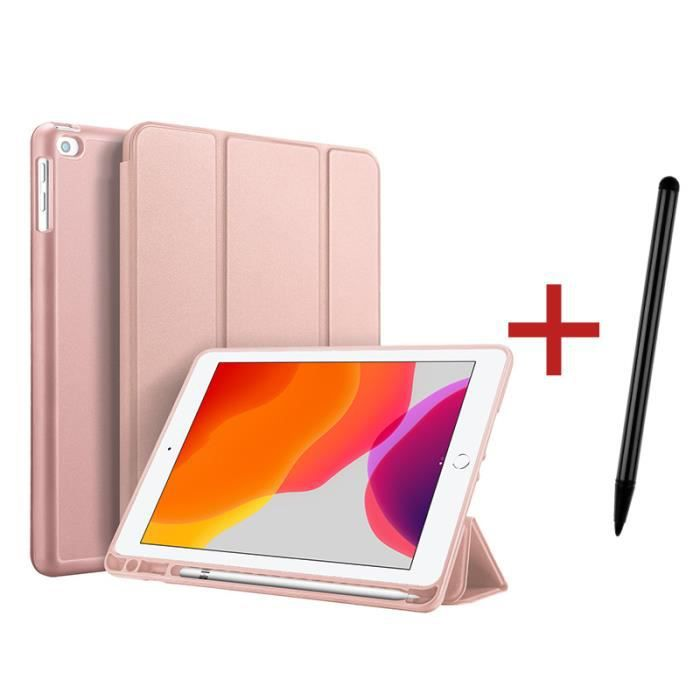 Étui iPad 8 10.2- 2020 [ +Stylet ] avec Support Fonction et Réveil/Sommeil Automatique Housse Coque iPad 8 10.2- 2020 - Rose