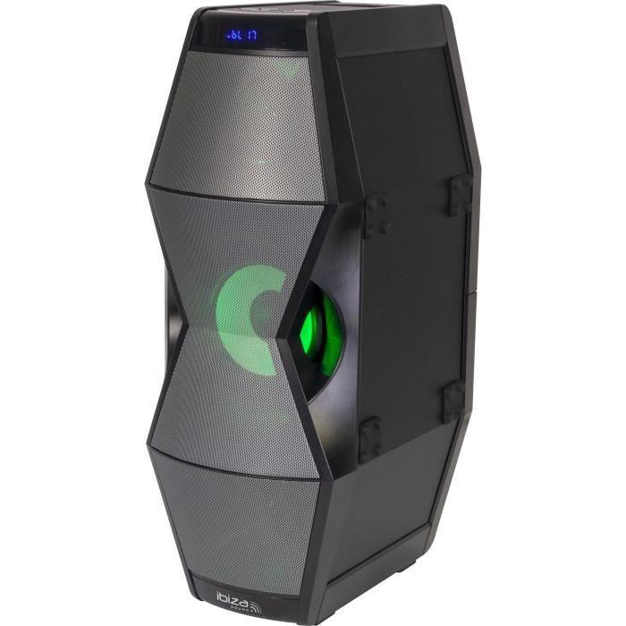 IBIZA SPLBOX450 - Enceinte bluetooth à effets de lumière à LED - Tuner FM - Ports USB et SD - Entrée AUX