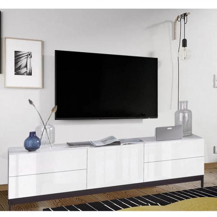 Meuble TV design METIS 170 cm laqué blanc brillant 1 porte 4 tiroirs blanc Inside75